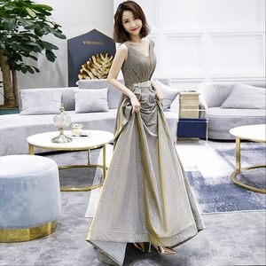 Evening Dresses V-Neck Sleeveless A-line Floor-length Elegant Backless Bling Plus size Customized Women Formal Party Dress A209