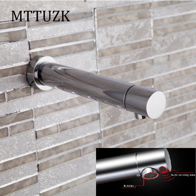 MTTUZK Pared de latón cromado DC6V batería de tipo integrado grifo de Sensor automático lavabo de baño grifo infrarrojo sin contacto