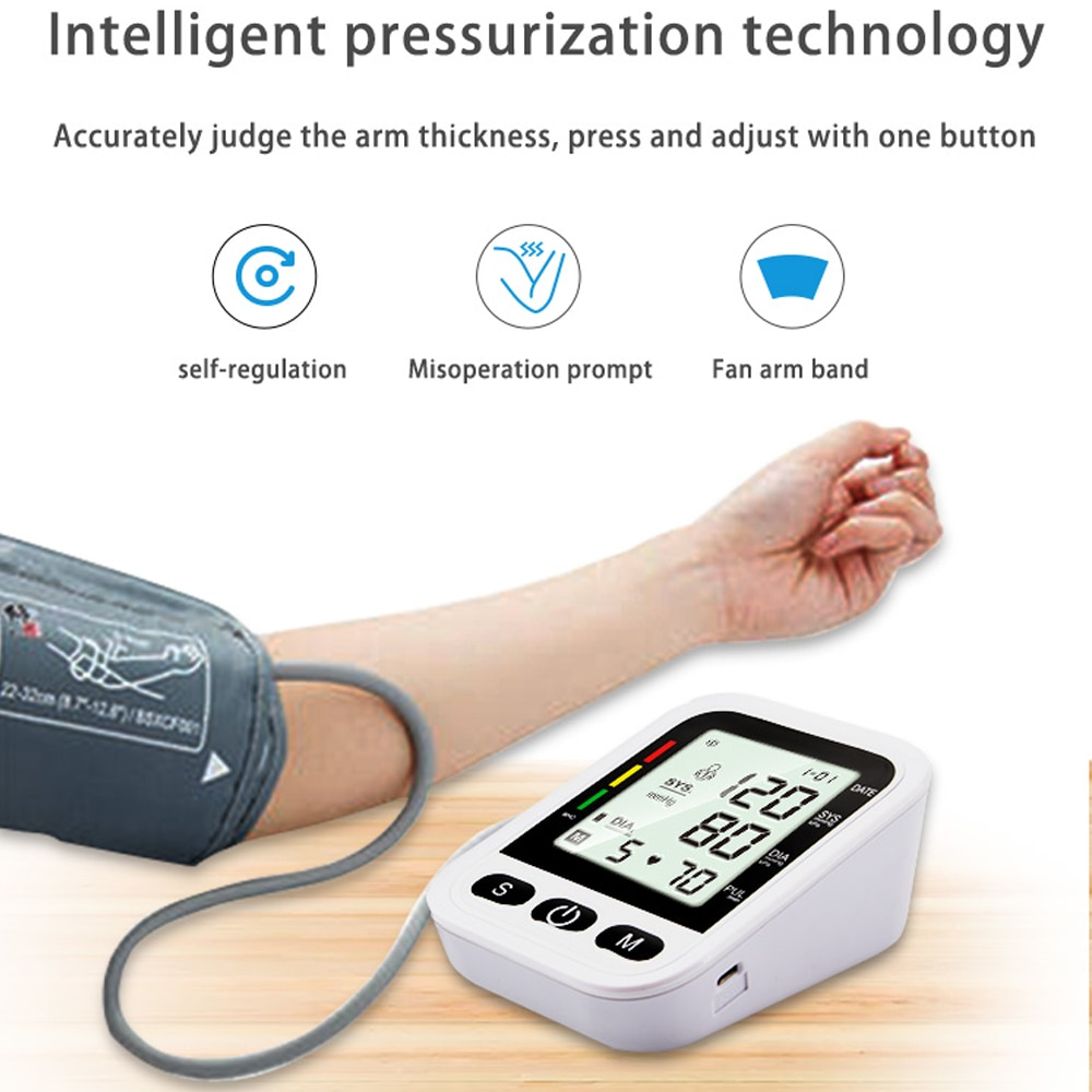Home Smart Arm Blood Pressure Monitor Medical Automatic Digital LCD Large Display Tensiometer Sphygmomanometer Health Care Blue
