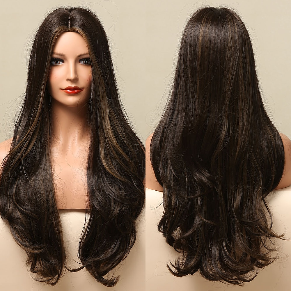 GEMMA Long Body Wave Omber Black Brown Blonde Golden Synthetic Wigs for Women Natural Middle Part Cosplay Heat Resistant Hair