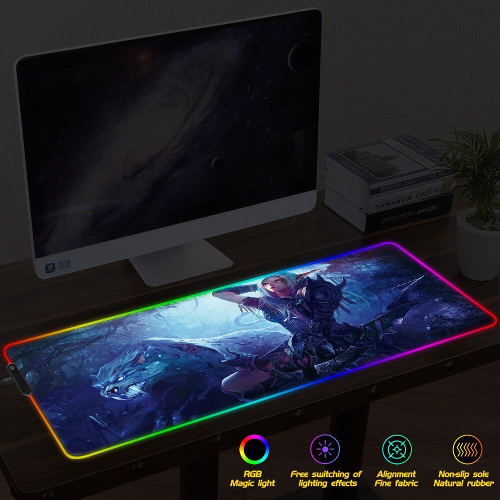 World of Warcraft Gaming Mouse Pad RGB Gamer Large Mousepad LED Lighting USB Keyboard Colorful Desk Mice Mat for Laptop Desktop