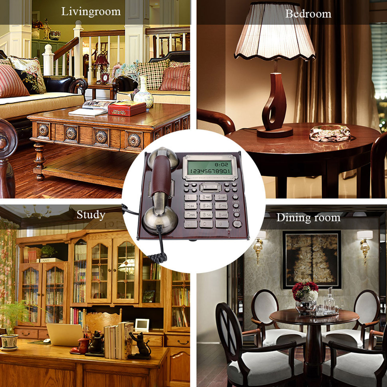 European Antique Vintage Fixed Telephone with Leather Handset Expandable Corded Landline Number Storage Function for Home Office