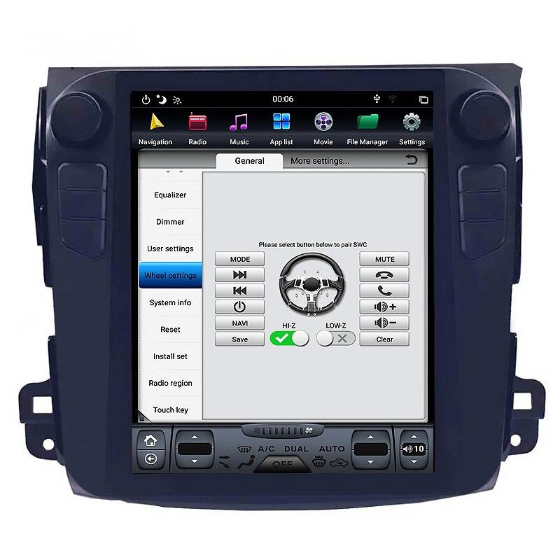 Reproductor multimedia de coche Chogath de 10,4 pulgadas con navegación android 7,1 gps para coche pantalla Tesla de 2 + 32G para Mitsubishi Outlander 2006-2014
