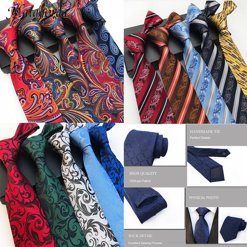 Luxury 8CM Man Tie 100% Silk Necktie Paisley Flower Jacquard Striped Gravata Business Wedding Party Ties Neckwear Formal Tie недорого