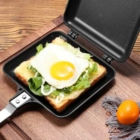 undetachable double sided frying pan non stick foldable frying pan sandwich mold for waffles bread eggs meat