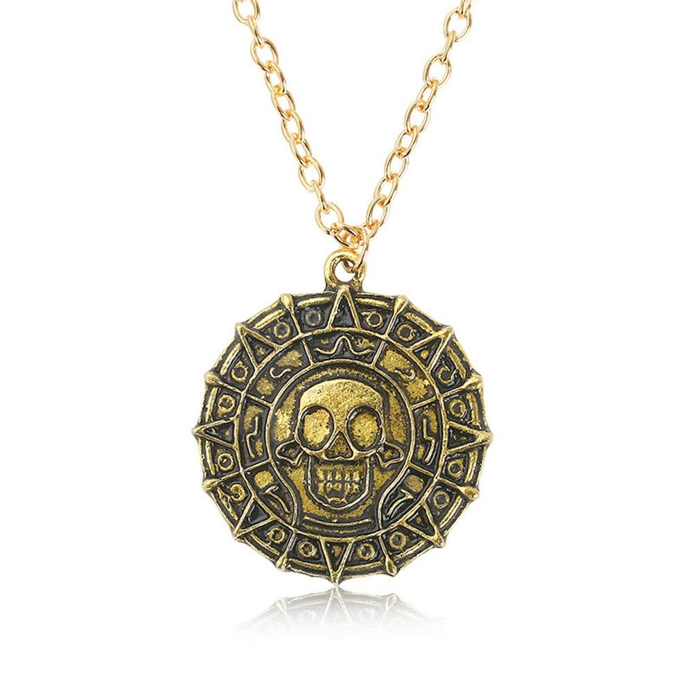 Moda redonda de metal antigo cor de prata vintage cor de ouro caribbean astec esqueleto moeda pingente colar para homens