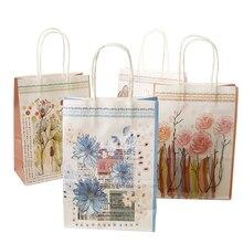 10 pièces Kawaii imprimé fleur kraft papier sac Festival cadeau sacs sacs en papier avec poignées enfants sacs-cadeaux 25*18*10cm