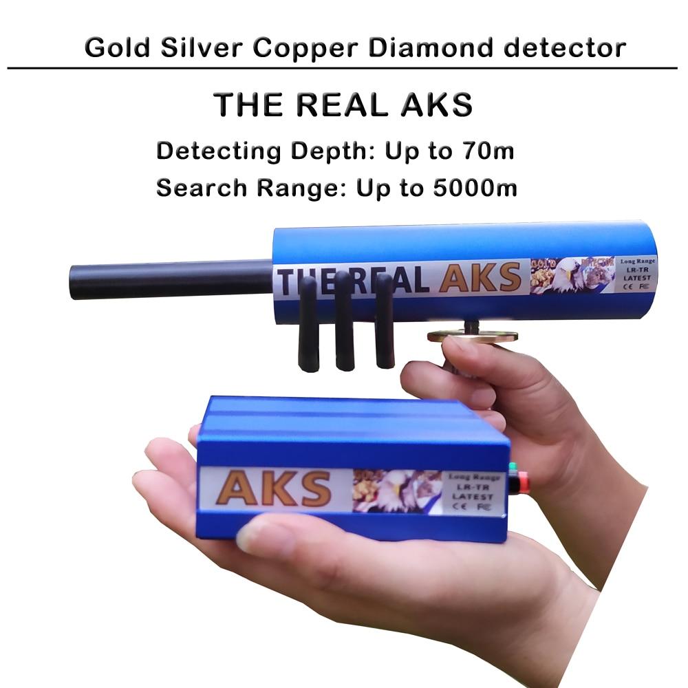 70m profondeur 6 antennes véritable or AKS longue portée détecteur dor avec étui de transport pour or argent gemme diamant chasseur Kit de trésor