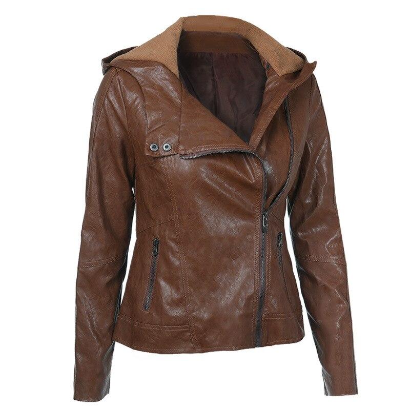 Куртка женская демисезонная с капюшоном и длинным рукавом, из ПУ кожи