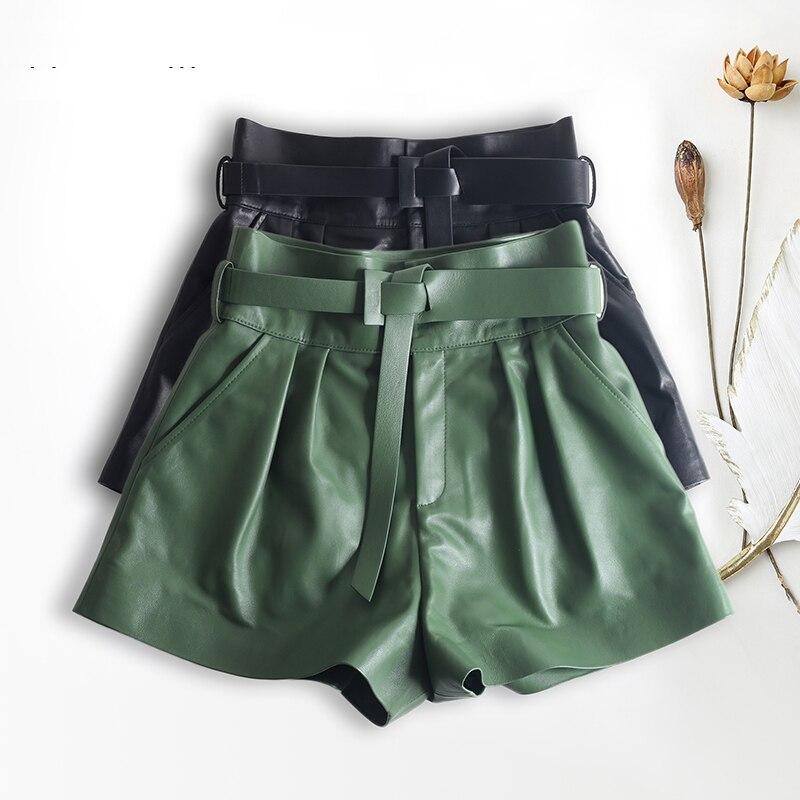 Mujeres Harajuku cuero genuino Bud plisado Falbala Shorts con cinturón Mujer alta cintura Hhaki/Verde Casual Mujer Sexy Booty Shorts