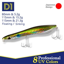D1 Pencil & Popper fishing lure wobblers 80mm 115mm sinking & floating 2021 High quality artificial hard bait fishing tackle