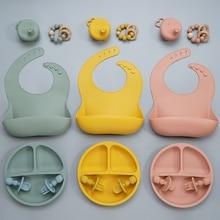 6pcs Gift Set BPA Free Food Grade Baby Silicone Bib Fork Spoon Dishes Plate Bowl Baby Feeding Supplies Newborn Accessories