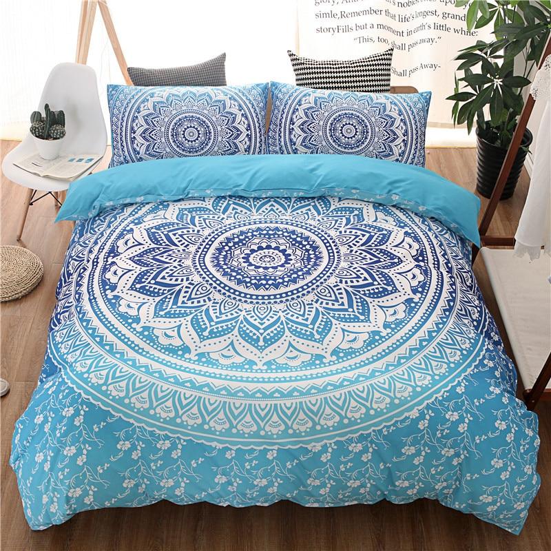 طقم أغطية سرير على الطراز البوهيمي ، غطاء لحاف بطبعة زهور بيزلي ، أزرق سماوي ، مفرش سرير كوين وكينغ ، خصم 40% ، شتاء