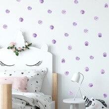 Aquarell Lila Tupfen Wand Aufkleber Kreise Hand Gezogen Wand Abziehbilder für Kinderzimmer Baby Kindergarten Home Dekoration Wand Dekor