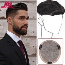 JINKAILI Pompadour-peluca corta sintética para hombre, postizo de pelo Natural, color negro y liso, adecuado para hombres con pérdida de cabello