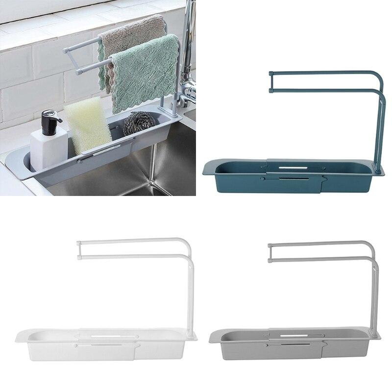 Égouttoir multifonctionnel pour évier, panier télescopique, organisateur de rangement pour la cuisine et la salle de bain