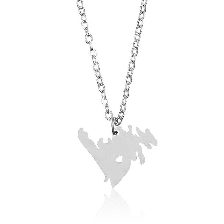 Moda ze stali nierdzewnej kanadyjski naszyjnik nowa fundlandia mapa wisiorek naszyjnik I serce kanada komunikat biżuteria prezent