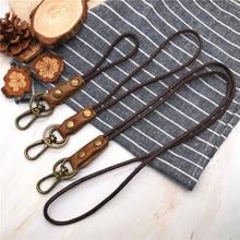 Cowhide Genuine Leather Lanyard Neck strap for mobile phone badge keys id credit work card holder wrist neck lanyard keychain