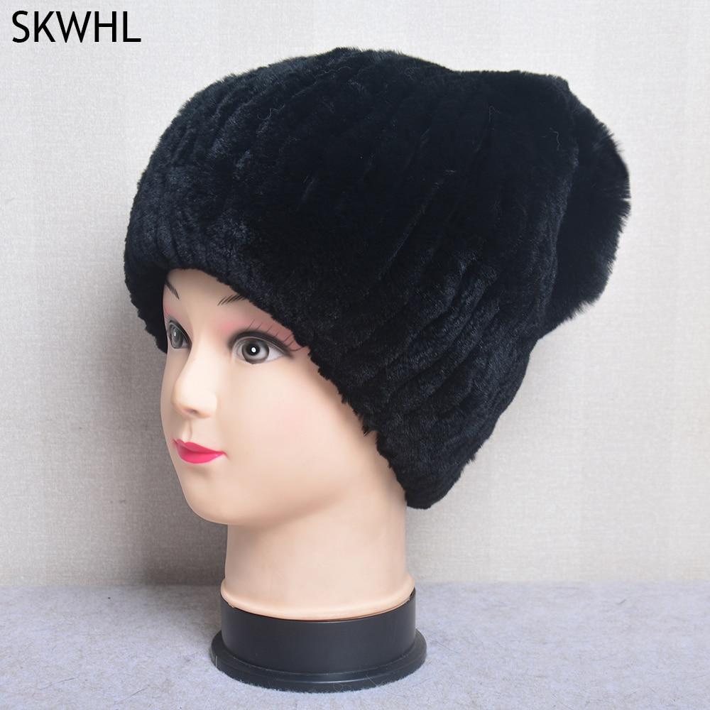 Зимние Роскошные женские шапки из 100% натурального меха, женские теплые мягкие вязаные полосатые шапки из натурального искусственного меха,...