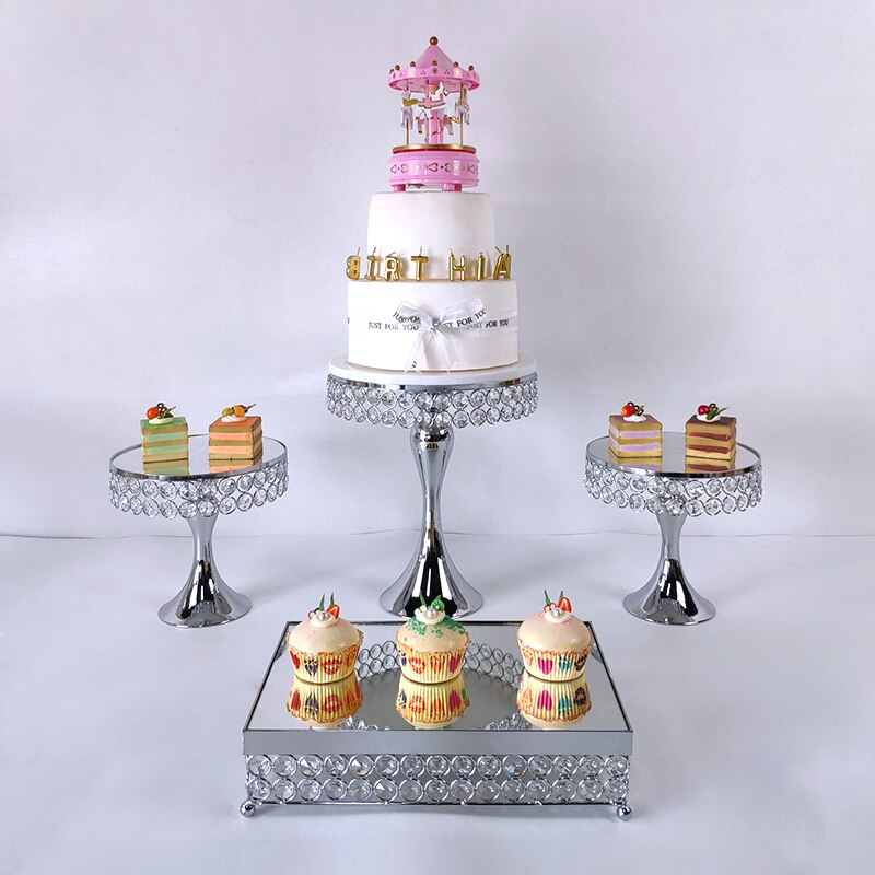 gold silver 4-5pcs High-quality Cake Stand Set gold Crystal Metal Cupcake decorations Dessert Pedestal Party Wedding cake rack