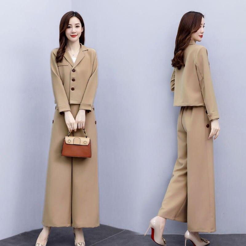 المرأة البدلة البدلة جديد الكورية نمط مزاجه الموضة النمط الغربي أوائل الخريف واسعة الساق السراويل المهنية ارتداء قطعتين