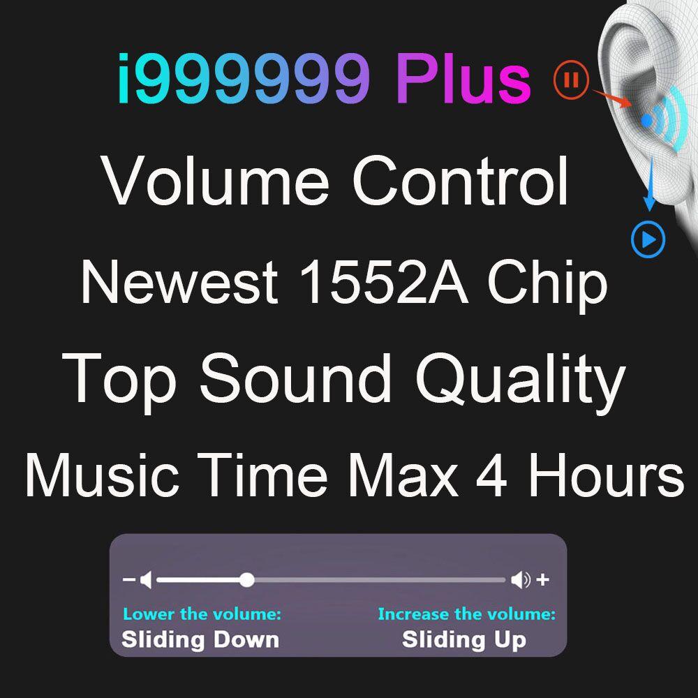 I999999 Plus TWS auriculares inalámbricos Air2 Bluetooth 5,0 auriculares de Control de volumen 10D auriculares con Supergraves PK i50000 i9000 i90000 Max