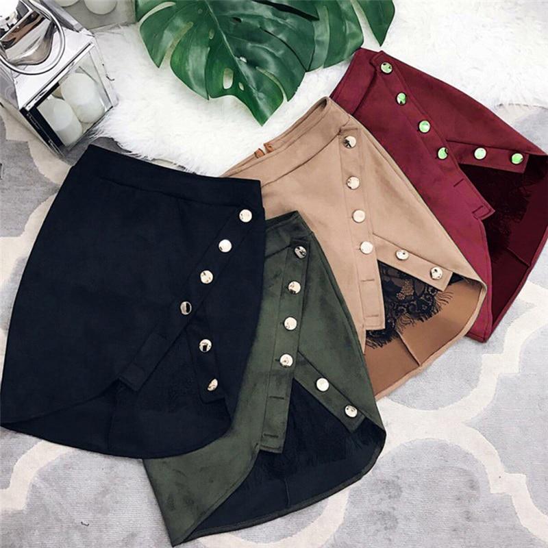 Llegada mujeres señoras alta cintura lápiz faldas botón encaje Patchwork Sexy gamuza cuero partido mini falda informal