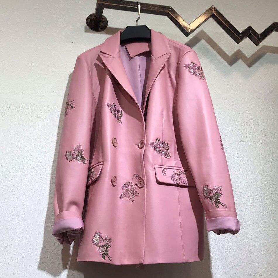 UpAvonu 2020 New Elegant Women's PU Leather Coat Jacket Lapel Double Breasted Slim Long Embroidered Flower Coat Jacket enlarge