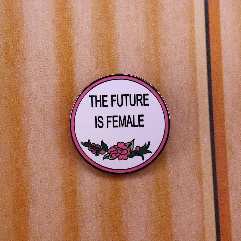 El futuro es femenino, pin esmaltado feminista, broches de flores hermosas para mujeres