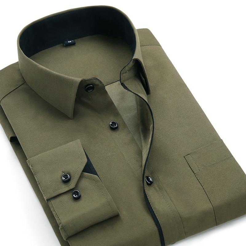 AliExpress - Aoliwen 2020 Men's Classic Shirts Black bars long sleeve dress shirt pocket Solid color Wild men Business cassual shirt slim fit