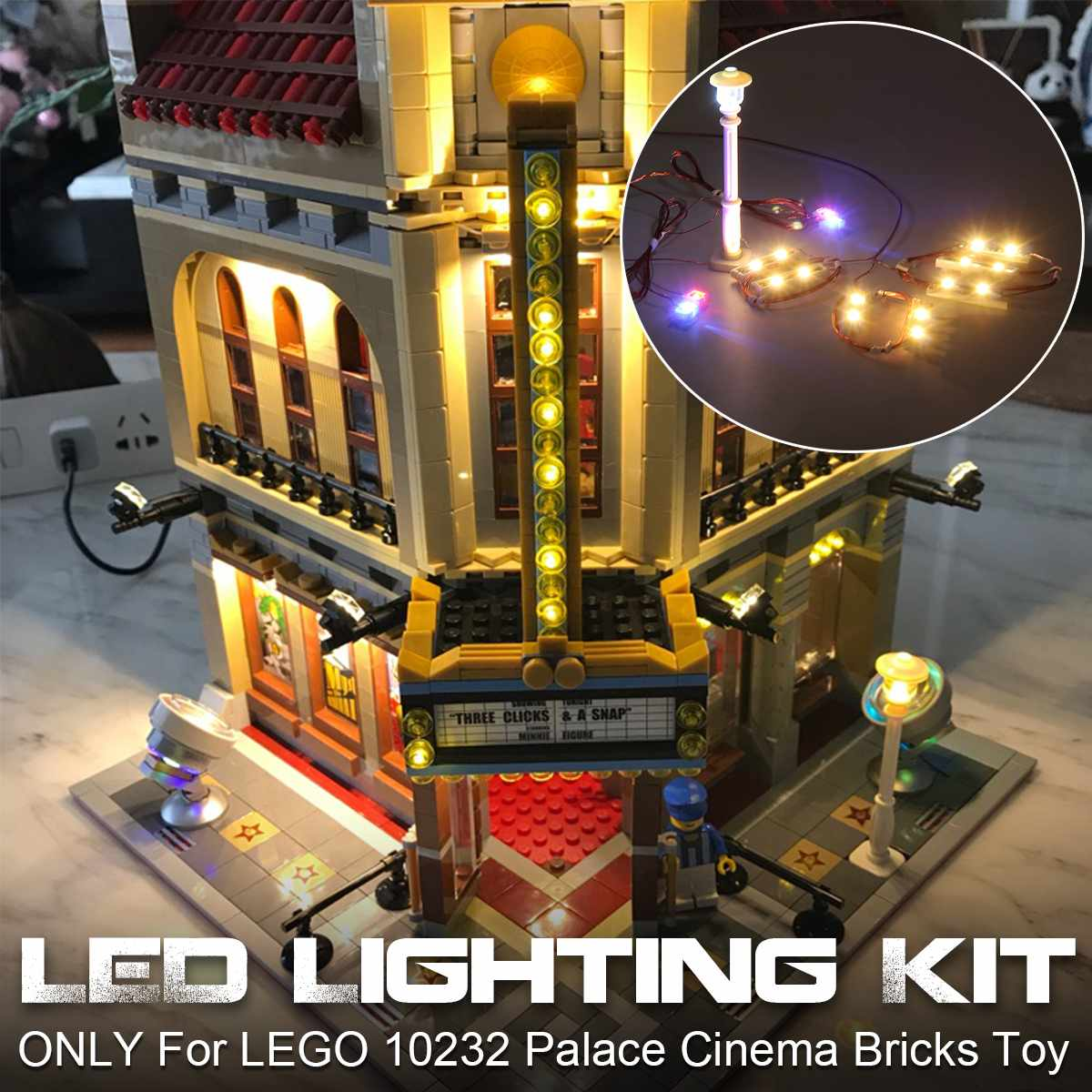 Kit de iluminación de luz LED para 10232 para el creador Palace Cinema bloques de construcción de juguete (modelo no incluido)