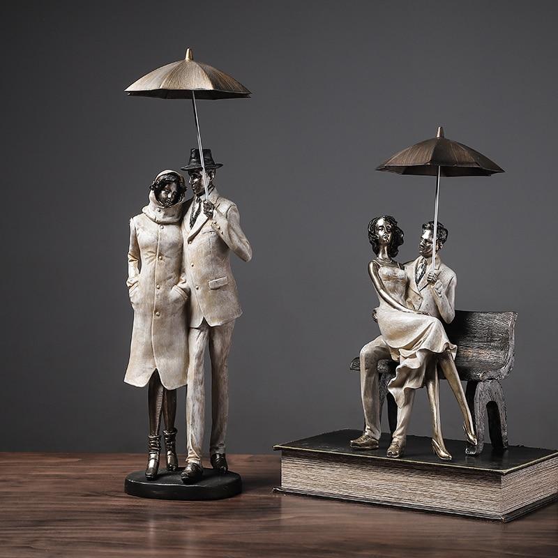Creative Man Hold An Umbrella Sit On A Stool Hold A Woman Figurine Ornament Decor Art Home Furnishing Decor Crafts Birthday Gift