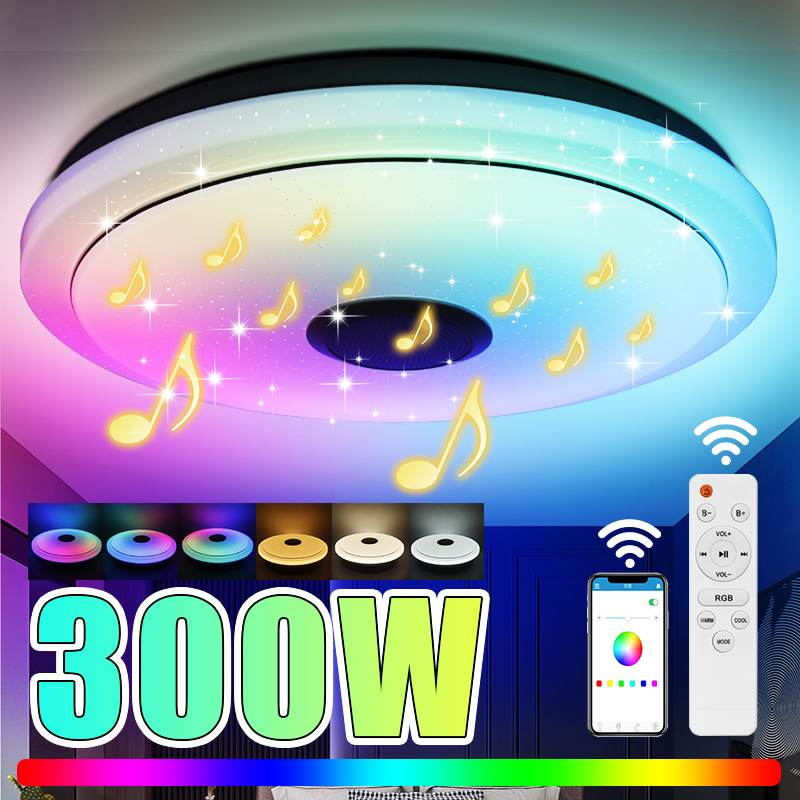 40CM 300W RGB Dimmable Music Ceiling Lamp Remote+APP Control BT Colorful Ceiling Lights Home bluetooth Speaker Lighting Fixture