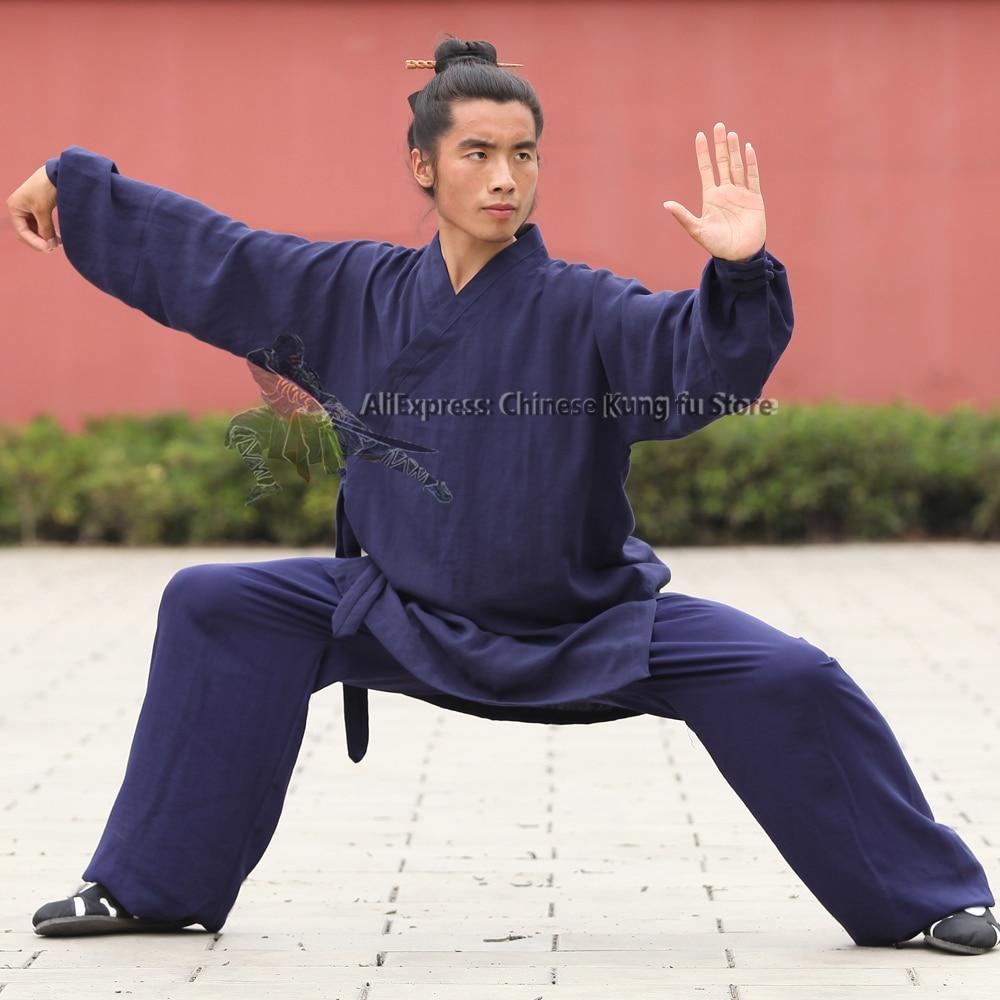 Wudang Taoist رداء نمط تاي تشي موحدة فنون الدفاع عن النفس الكونغ فو دعوى شاولين الراهب رداء و السراويل عالية الجودة الكتان 25 ألوان