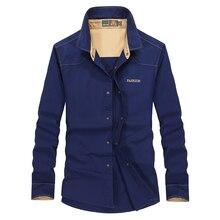 Мужская рубашка в Военном Стиле, синяя, осенняя, 6891