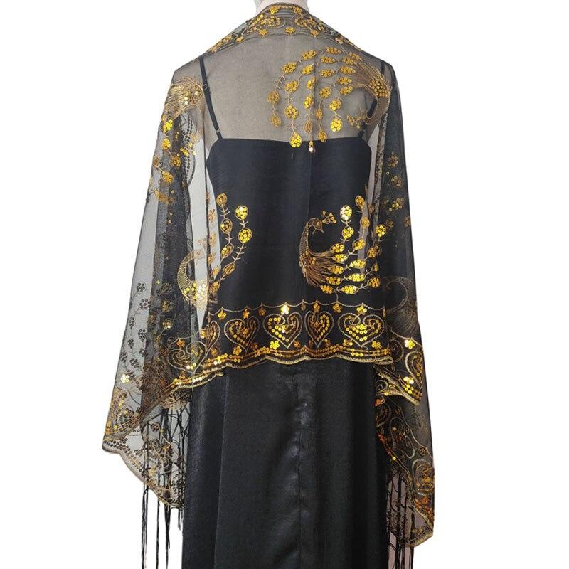 Женский шарф 1920-х годов MeshPeacock Phoenix, свадебная накидка с блестками и вышивкой, вечерняя накидка