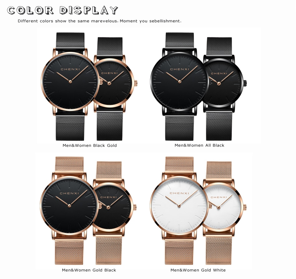Luxury Brand  Watch Fashion Lovers Wristwatches Women Men Quartz Wristwatch Black Casual Mesh Strap Ultra Thin Watches enlarge