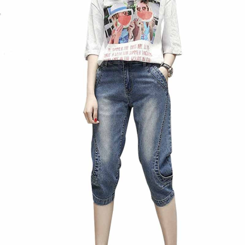 Boyfriend Jeans For Women Fashion Summer High Waist Jeans Calf-Length Denim Capri Loose Streetwear Stretch Casual Harem Pants women s casual loose denim overalls lady s strap harem jeans pocket ankle length pants for woman