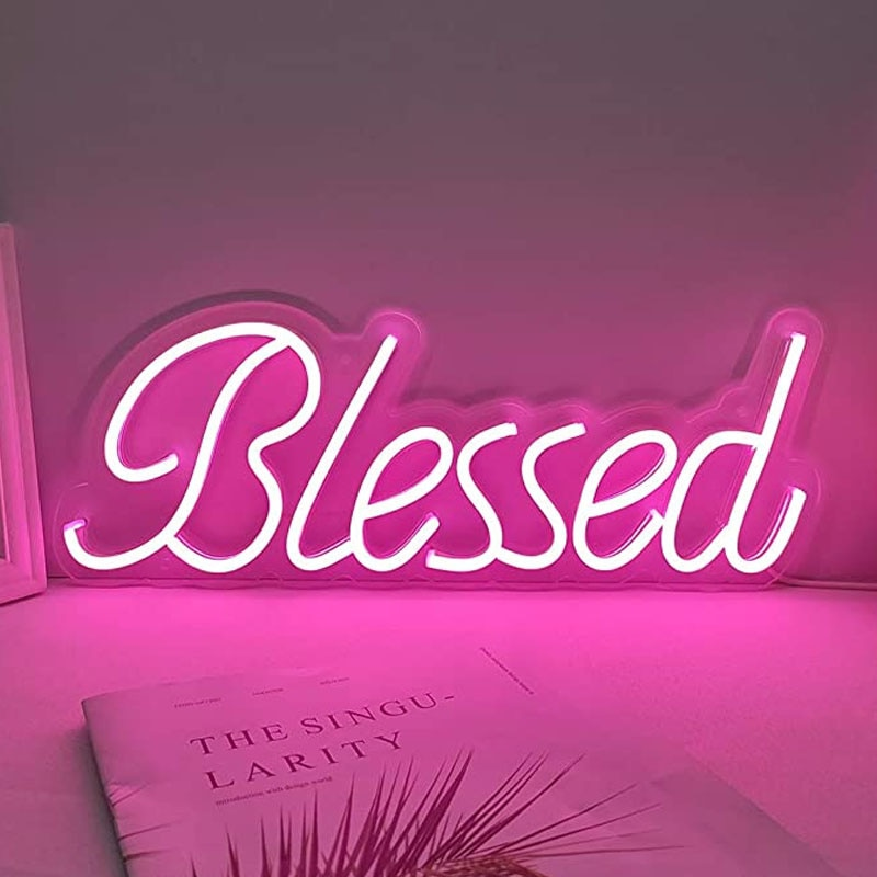 OHANEONK Custom Neon Sign Light of Blessed for Wedding Birthday New Year Christmas Decoracion Display Party Gift Home Wall Decor enlarge