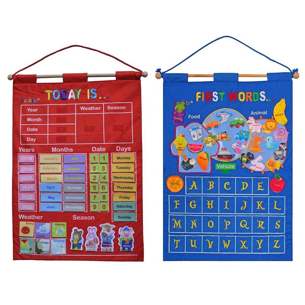 Kindergarten Infant Teaching Aid Educational Toy Cloth Learning English Letter Weather Date Season Calendar Teaching Tool