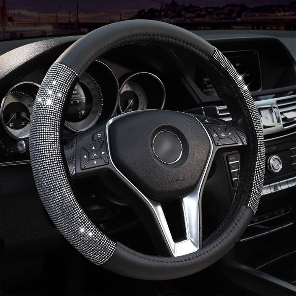 Всесезонный Универсальный чехол на руль из искусственной кожи Bling Crystal, автомобильные аксессуары, лучшие чехлы на руль для вас