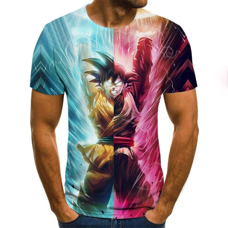 Nueva camiseta de manga corta con cuello redondo para hombres, camiseta Casual transpirable para hombres, camiseta 2020 con estampado de Bola de Dragón en 3D