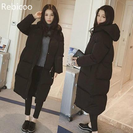 Female Coat Over The Knee Long Thick Padded Hat Coat Cotton Coat Female Student Jacket   Winter Jacket Women thick Coat