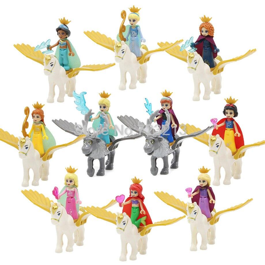 5 uds/10 Uds princesa caballo volador sirena Ariel figura de chica Cenicienta blanco nieve muñeca Anna modelo de bloques de construcción de Juguetes