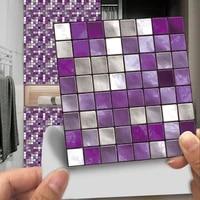 Autocollant mosaique de carreaux durs violets  etiquette plate imprimee en 2d  couverture de transfert pour papier peint de cuisine salle de bains  peler et coller  affiche dart  10 pieces