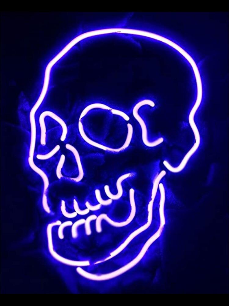 علامة نيون على شكل جمجمة أنبوب زجاجي حقيقي ، ديكور غرفة ألعاب شاطئية للفنادق ، الإعلان عن الوشم ، شعار تصميم يدوي ، ضوء