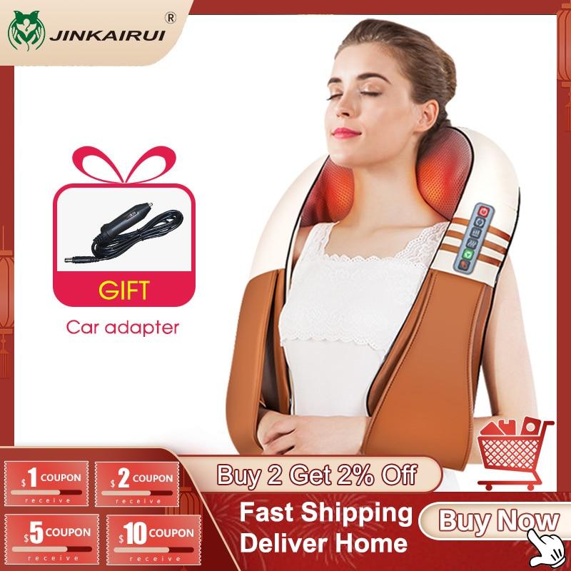 (with Gift Box) JinKaiRui U Shape Electrical Shiatsu Back Neck Shoulder Body Massager Infrared Heated Kneading Car/Home Massager