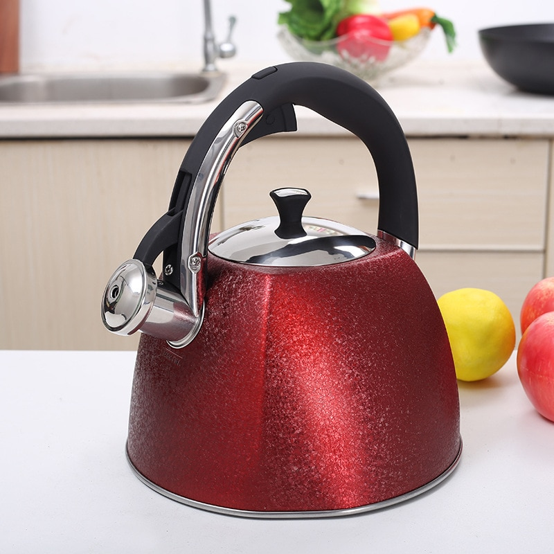 غلايات الماء المغلي الأحمر في الهواء الطلق Samovar التخييم غلايات المياه الفولاذ المقاوم للصدأ خمر موقد Bouilloir لوازم المطبخ