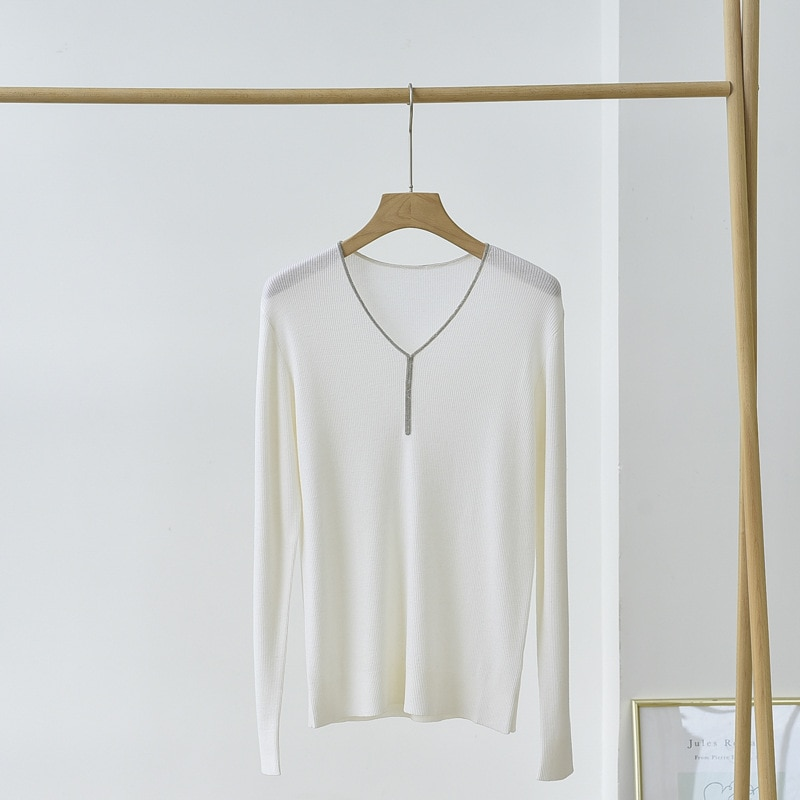SHUCHAN Chain Wool Womens Knit Pullover Autumn  Vintage Sweater  V-Neck  Spliced  Formal  Spring/Autumn  Long Sleeve Tops enlarge