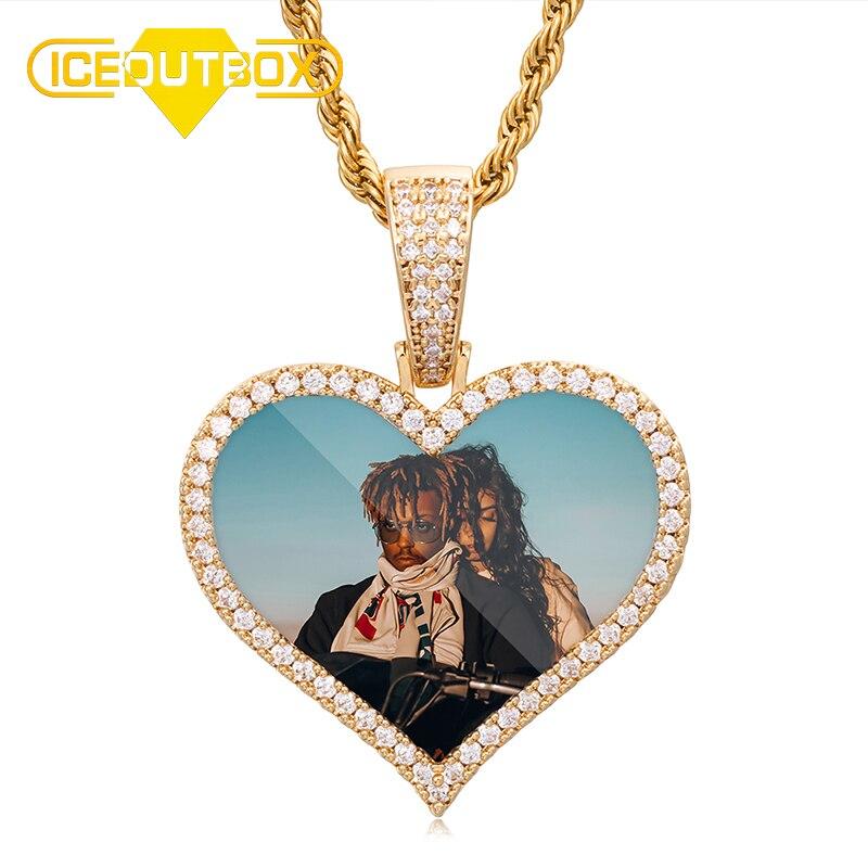 Coração especial de cristal feito sob encomenda imagem medalhões memória sólido pingente colar zircão cúbico para presente de jóias hip hop masculino